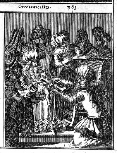 Image from object titled Three scenes illustrating: a woman undergoing a trial for adultery, a Jewish burial and circumcision ceremony. Etching after a woodcut, 1682.