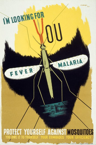 Image from object titled The malaria mosquito forming the eye-sockets of a skull, rep