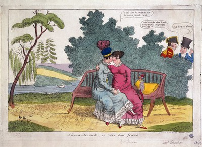 Image from object titled Lady Strachan and Lady Warwick making love in a park, while their husbands look on with disapproval. Coloured etching, ca. 1820.