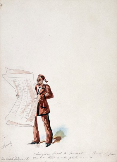 Image from object titled The Panama Canal: Dr Cornelius Herz, having fled to Bournemouth, reads in a newspaper that he is being sought by the police for his part in the mismanagement of the canal's financing. Watercolour drawing by H.S. Robert, ca. 1897.