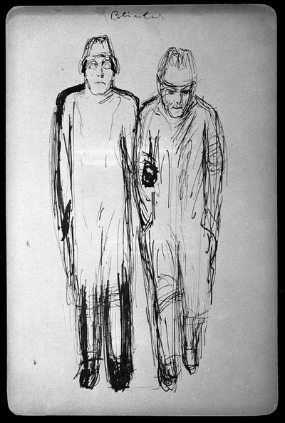 Image from object titled A blind man assisted by another man