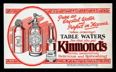 Image from object titled Advert for Kimmond's Table Waters