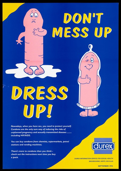 Two personified penises, one of them wearing a condom to show their