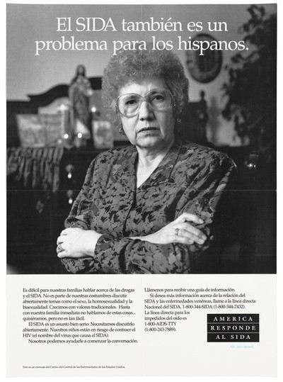 Image from object titled A middle-aged woman in glasses with her arms crossed, a statue of Christ in the background and a warning about the problem of AIDS and hispanics; a poster from the America responds to Aids advertising campaign. Black and white lithograph.