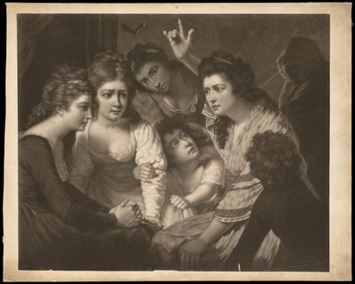 Image from object titled A lady telling a gripping story to young women and children.