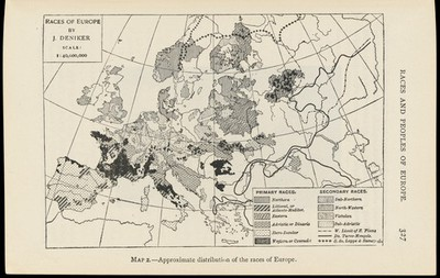 Image from object titled Map showing the distribution of races in Europe