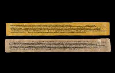Image from object titled A copy of the tantric work Nihsvasatattvasamhita transcribed by Bauddhaesevita Vajracarya for Dr Paira Mall (1874 - 1957) in Katmandu, Nepal, c. 1912, from a palm-leaf manuscript.