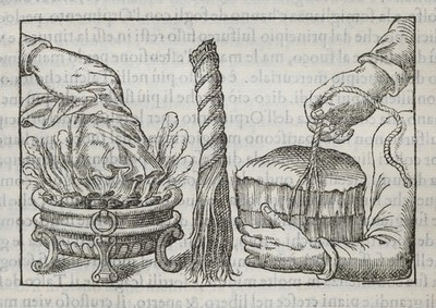 Image from object titled Imperato's asbestos experiments. Woodcut, 1599.