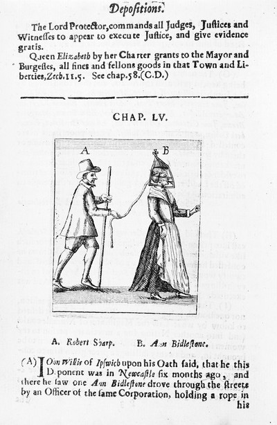 Image from object titled Woman wearing a Scold's Bridle.