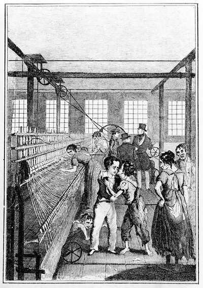 Image from object titled Child apprentices in textile factory. Apprentice greeting former friend, the workers in rags.