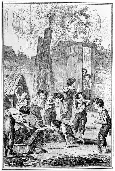 Image from object titled Child apprentices in textile factory. The children supplement their scanty rations from the pig trough