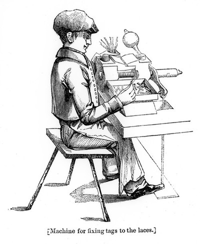 Image from object titled Boy working machine for fixing tags to boot-laces.