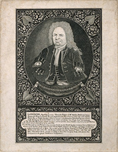 Image from object titled Matthias Buchinger, a phocomelic. Engraving after a self portrait.