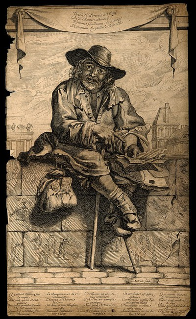 Image from object titled Guillaume de Limoge, a crippled street singer. Etching by G. Audran.