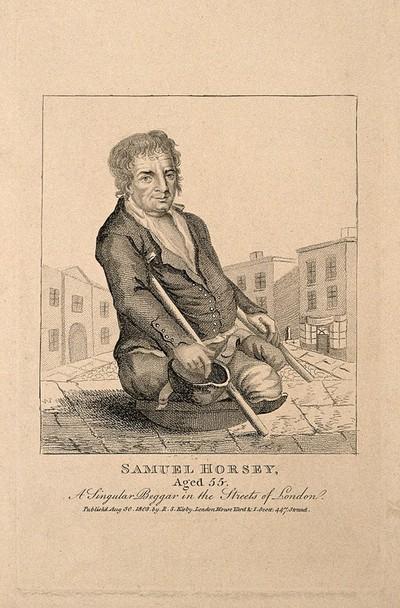 Image from object titled Samuel Horsey, a crippled beggar. Stipple engraving, 1803.