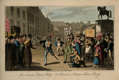 Image from object titled Billy Waters, a one legged busker, in a crowded London street. Coloured aquatint, 1822.