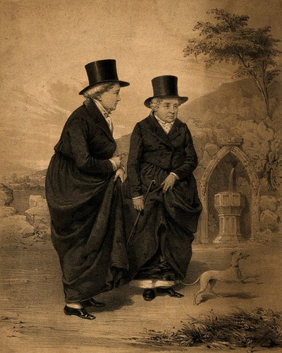 Image from object titled Sarah Ponsonby (left) and Lady Eleanor Butler, known as the Ladies of Llangollen, outside with a dog. Lithograph by J.H. Lynch, 183-, after Mary Parker (later Lady Leighton), 1828.