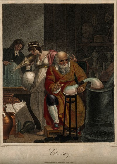 Image from object titled A man conducts an alchemical experiment with an alembic, in the foreground, in the background a female figure representing the world observes a man of the new school of chemistry who prepares an oxygen experiment with a glass jar and a candle: a representation of the historical transition between alchemy and chemistry. Coloured stipple engraving by J. Chapman, 1805, after R. Corbould.