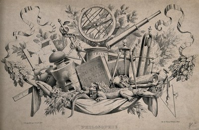 Image from object titled Some scientific instruments and attributes of philosophy: gyroscopes, telescope, pestle and mortar, cosmological manuals. Lithograph by J-B-J. Jorand, 1835.