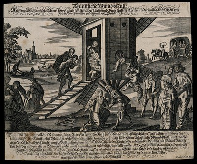 Image from object titled Husbands bringing their ugly wives to a windmill, to be transformed into beautiful ones. Engraving by P. Fürst, c. 1650.