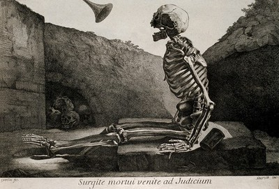 Image from object titled A skeleton, seated on his grave, awakes to the last trump