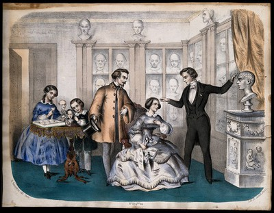 Image from object titled A phrenologist and some society people in a parlour. Coloured lithograph by H. Jannin after L.C. Bominier (?).