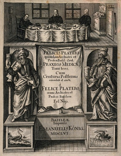Image from object titled The anatomist Felix Platter, seated at a table covered with surgical instruments in a room with two other men, below which are the figures of Hippocrates and Galen. Engraving, 1656.