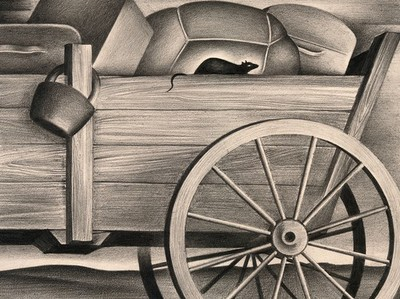 Image from object titled A stow-away rat on a cart, carrying the plague. Drawing by A.L. Tarter, 194-.