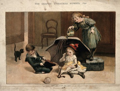 Image from object titled Children playing at creating the effect of a wet day with bellows, watering-can and an umbrella. Chromolithograph after E. Lees after A. Havers, 1890.