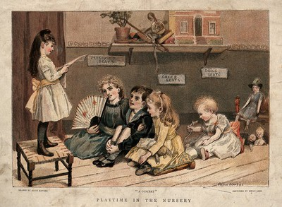 Image from object titled Children playing in their nursery: performing at and attending the theatre. Chromolithograph after E. Lees after A. Havers, 1890.