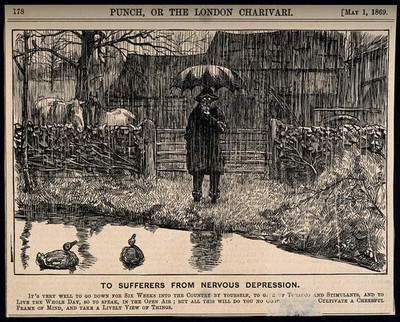Image from object titled A depressive man standing by a country pond in the pouring rain - not helping his state of mind. Wood engraving, 1869.