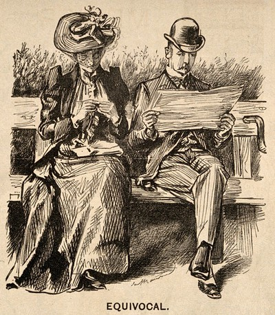 Image from object titled A doctor reading a newspaper article on the prospect of a decrease in influenza - his wife hopes for the reverse. Wood engraving by G. Du Maurier, 1892.