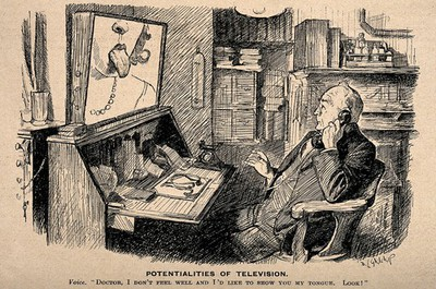 Image from object titled A doctor on the telephone (which is linked up to a television screen) to a patient whom he can both observe and talk to from a distance; representing possible technological innovations. Reproduction of a drawing after D.L. Ghilchip, 1932.