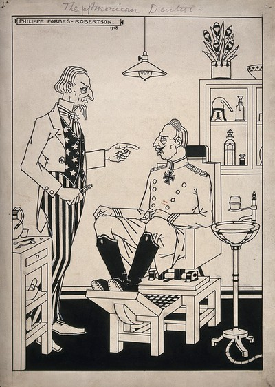Image from object titled A dentist (Uncle Sam) about to extract a tooth from a patient (Kaiser Wilhem II); representing America's successful involvement in the First world war. Pen drawing by P. Forbes-Robertson, 1918.