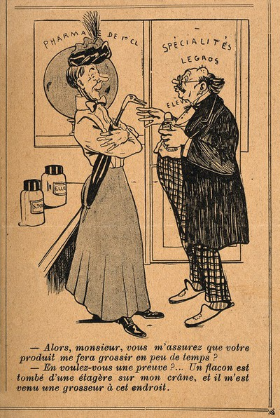 Image from object titled A lady asks a pharmacist about his enlargening potion; he displays the bump on his head as proof of its efficacy. Photomechanical reproduction of a wood engraving.