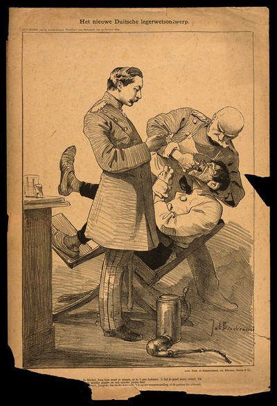 Image from object titled A German military dentist pulls a tooth from an agonised soldier. Reproduction of a lithograph by J. Braakensiek, 1892.
