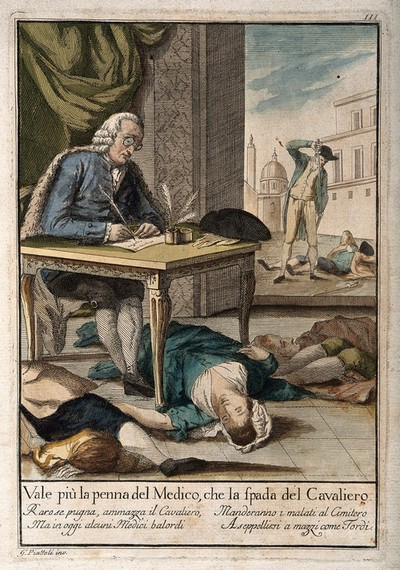 Image from object titled A doctor surrounded by four dead bodies writes out a prescription at a table, while to the right a man puts his sword into his scabbard after killing a man; indicating that the pen of the physician is mightier than the knight's sword. Coloured etching after G. Piattoli.