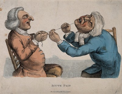 Image from object titled A tooth-drawer using a cord to extract a tooth from an agonized patient. Coloured engraving by J. Collier, 1810, after himself, 1773.