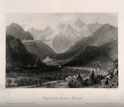 Image from object titled Cityscape mountain view of Bagnères de Luchon. Steel engraving by J. Templeton after T. Allom.
