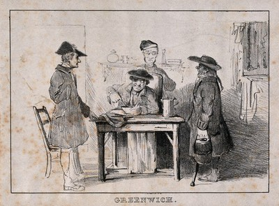 Image from object titled A Greenwich Pensioner sits at table, eating soup, attended [?] by three others: all are disabled in various ways. Lithograph.