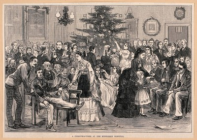 Image from object titled The Middlesex Hospital: a party in a ward, with a Christmas tree and other decorations. Wood engraving, 1874.
