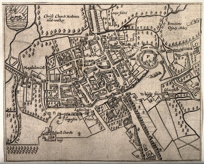 Image from object titled City of Oxford: plan of the city with important buildings either named or marked. Line engraving.