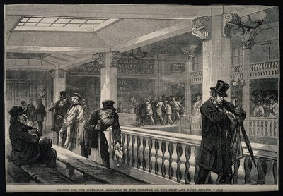 Image from object titled The Institut National des Sourds-Muets, Paris: interior showing voters for the National Assembly. Wood engraving.