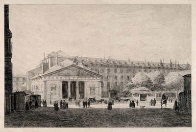 Image from object titled The Hôtel Dieu, Paris: panoramic view with busy foreground. Etching by Grimdel?, 1877, after himself, 1868.