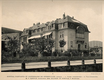 Image from object titled Hôpital d'enfants et dispensaire de Guebwiller, Alsace: cross-section and front entrance. Process print, 1913.