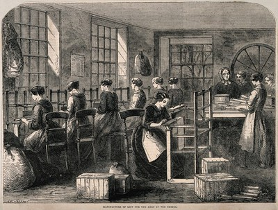 Image from object titled Crimean War, England: women manufacturing lint for the army. Wood engraving by W. Sheeres, 1855.