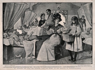Image from object titled Boer War: a busy hospital ward on St. Patrick's day with a wounded Irishman being offered shamrock by a visiting lady. Process print after R. Macbeth after A. Johnstone, c. 1900.