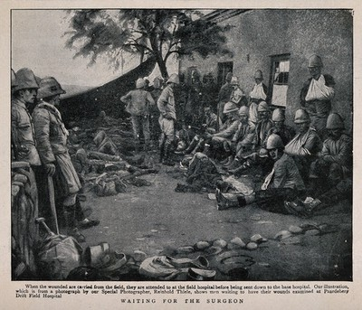 Image from object titled Boer War: wounded soldiers waiting outside a field hospital for examination by the surgeon. Halftone after R. Thiele, c.1900.