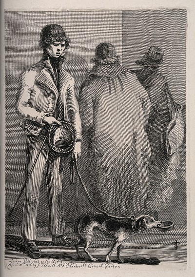 Image from object titled A blind beggar walks past two figures guided by his dog with a begging bowl. Etching by J.T. Smith, 1816.