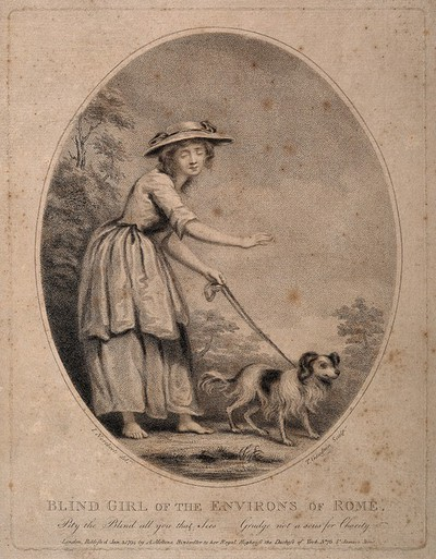 Image from object titled A shoeless blind girl is led by a dog on a path. Stipple engraving by T. Gaugain, 1785, after J. Northcote.